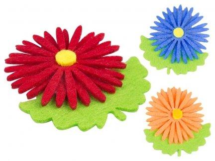 Naklejki z Filcu Kwiatek Stokrotka [Zestaw- 10 Paczek]