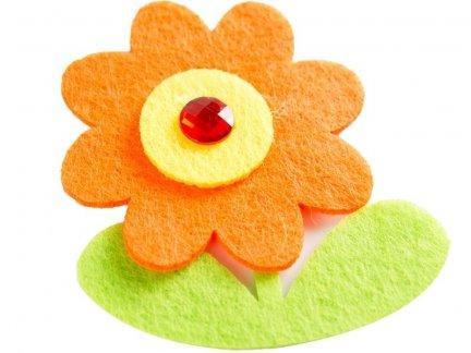 Naklejki z Filcu Kwiatek z Kryształkiem [Zestaw- 10 Paczek]