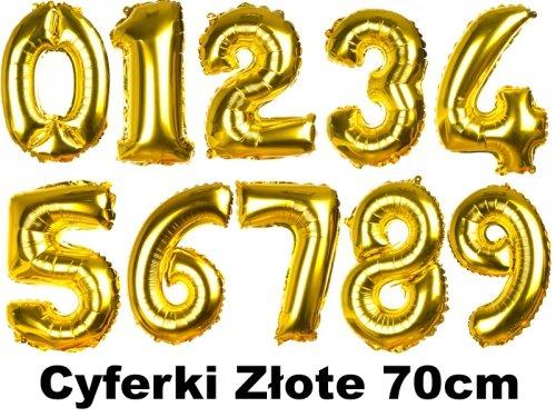 Balony Cyferki Złote 70cm