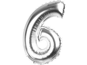 """Balony Foliowe Cyferka """"6"""" Srebrna 70cm - [ Komplet - 10 sztuk]"""