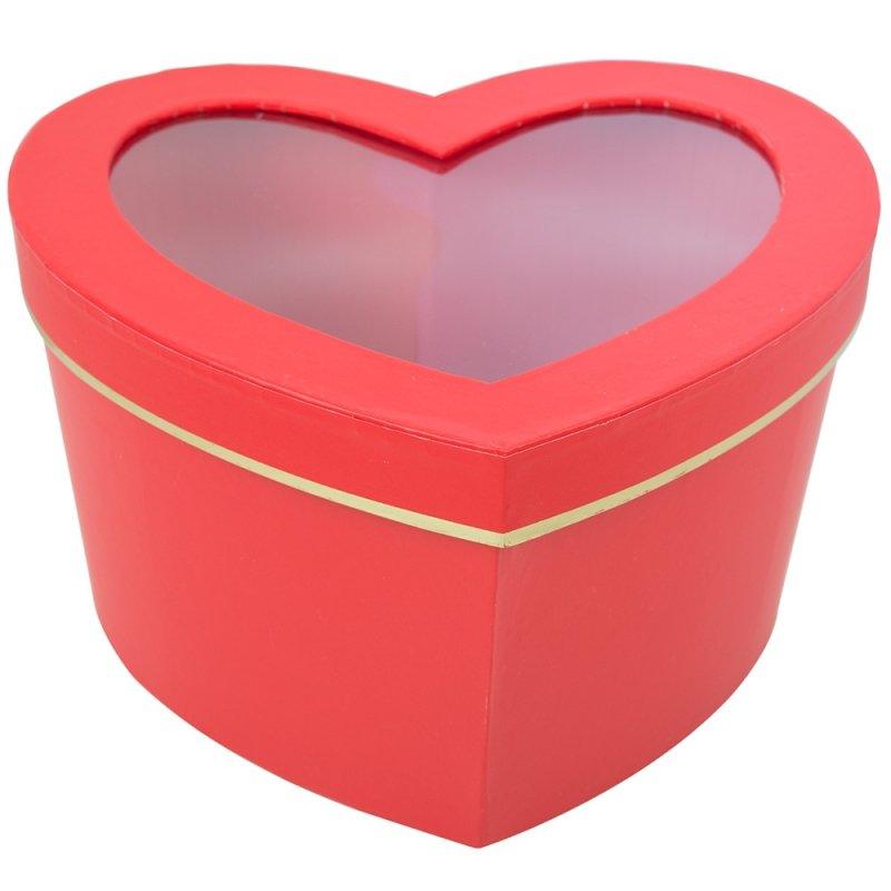 Flower Box Serce Czerwony-Złoto Mały
