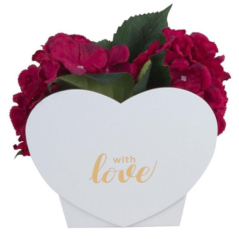 "Flower Box Serce ""With Love"" Białe 2"