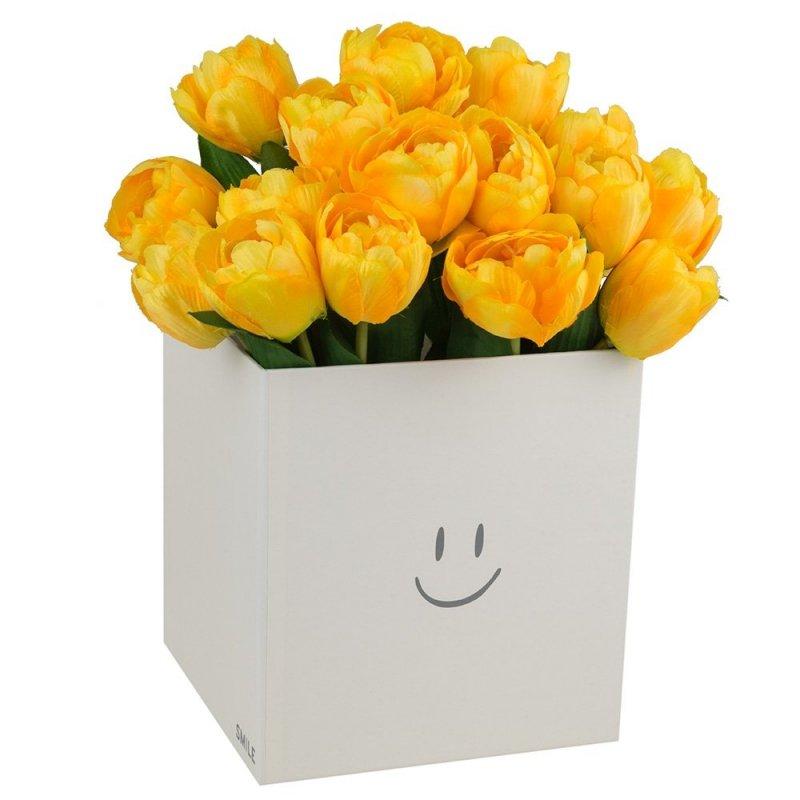 """Flower Box Kwadrat """"Smile"""" Jasny Żółty Średni 2"""