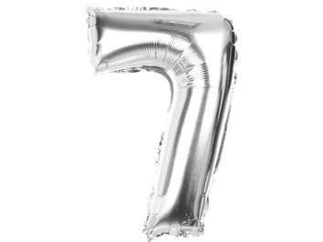 """Balony Foliowe Cyferka """"7"""" Srebrna 70cm - [ Komplet - 10 sztuk]"""