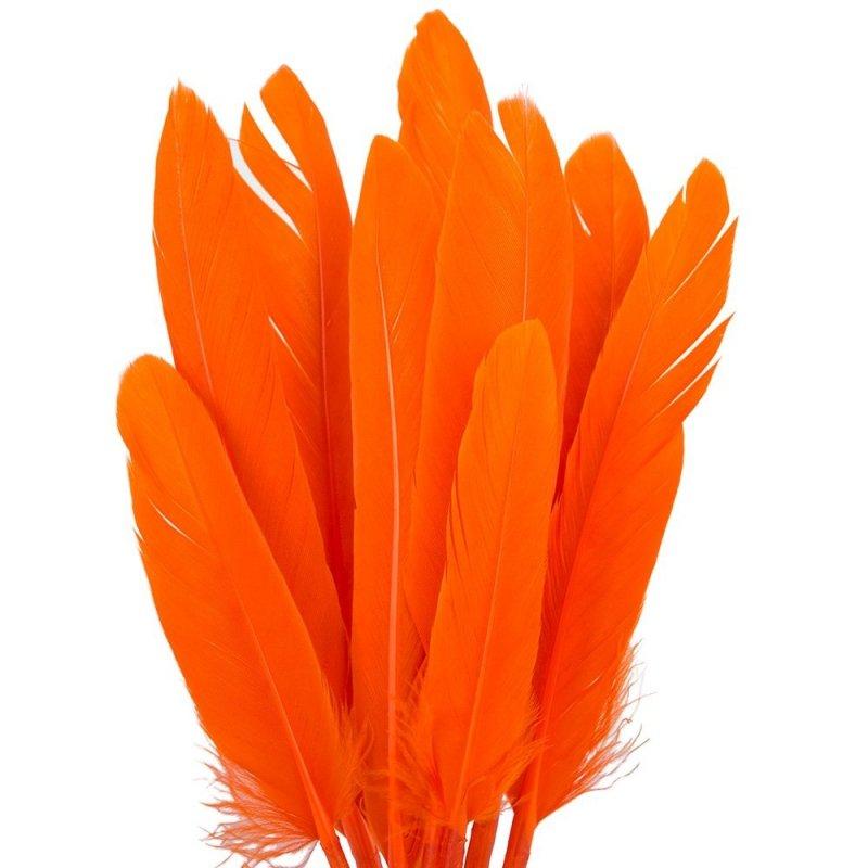 Piórka Lotki Długie Pomarańczowe [ Komplet 10szt ]