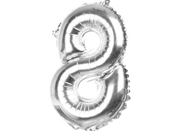 "Balony Foliowe Cyferka ""8"" Srebrna 100cm - [ Komplet - 10 sztu]"