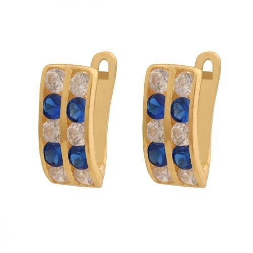 Kolczyki złote 585 na klapkę, zatrzaskowe - 26106