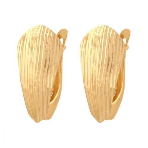 Kolczyki złote 585 na klapkę, zatrzaskowe - 33737