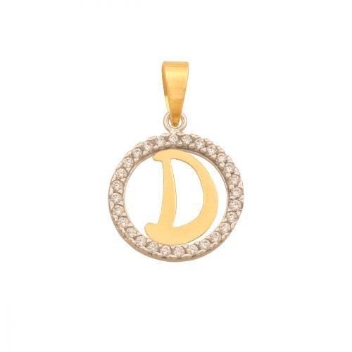 Zawieszka złota 585 litera, literka D -  42268
