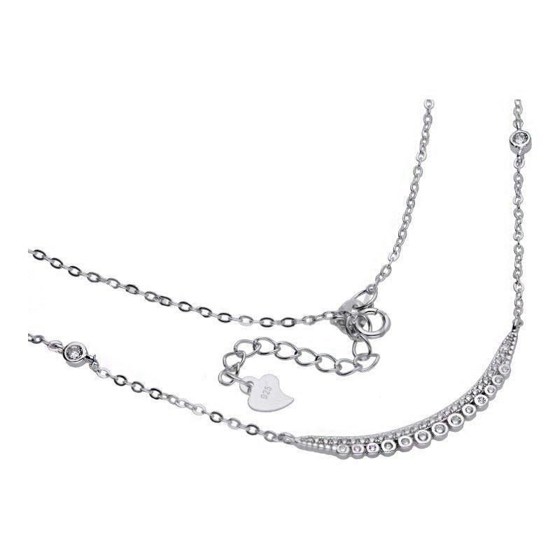 Naszyjnik łańcuszek srebro 925 cyrkonie 24H
