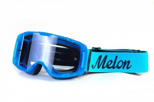 Gogle Melon PARKER MTB/MX Niebieski gumowy mat (Pasek i szkło do wyboru)