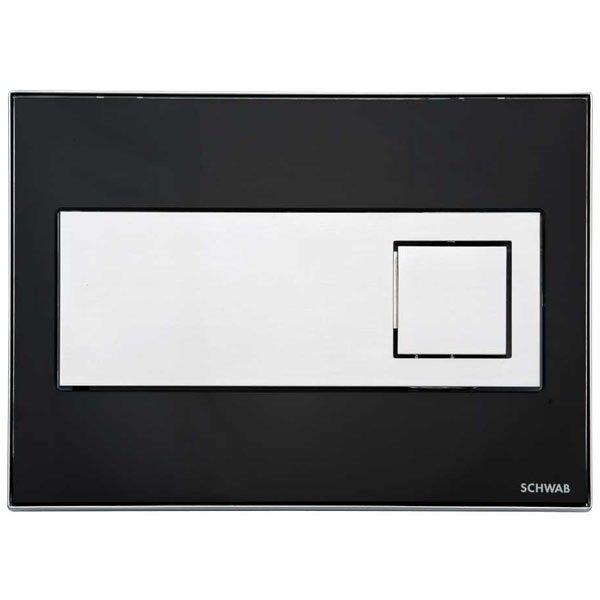 Przycisk spłukujący szklany czarny Caro