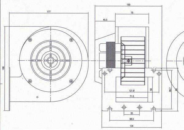 Dmuchawa do pieca wentylator z klapką NWS 75