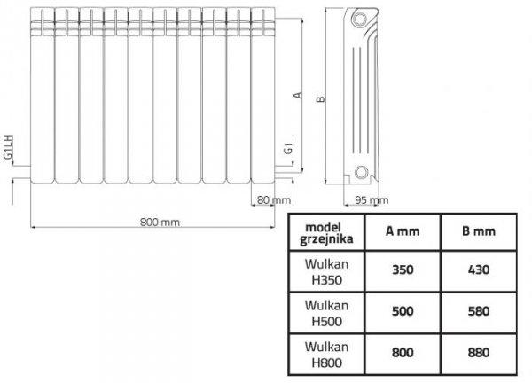 Wulkan H500 Grzejnik aluminiowy Diamond 1526 W