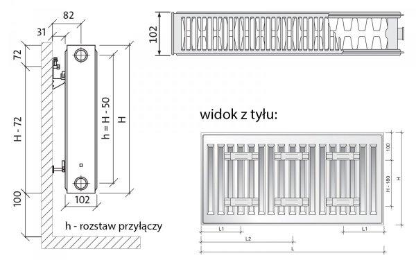 Purmo C22 600x700 Grzejnik panelowy pokojowy