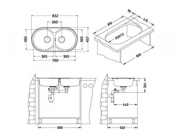 Zlewozmywak Alveus Form 50 84x44 cm 2-komorowy INOX +syfon