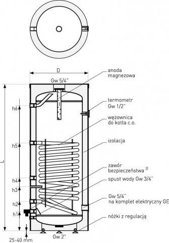 Wymiennik pionowy Galmet SGW(S) Zasobnik z wężownicą 120l
