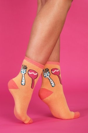 Supa! Sox! Orange Fork ladies socks