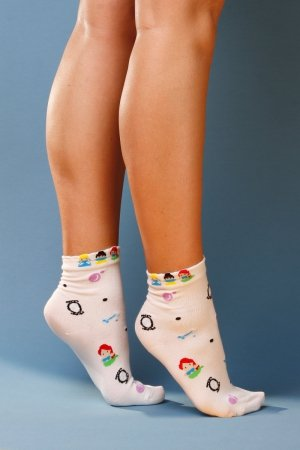 Supa! Sox! White Dolls ladies socks (JP6108)