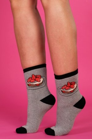 Supa! Sox! Grey Cupcake ladies socks