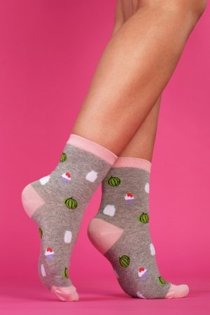 Supa! Sox! Grey Fun ladies socks