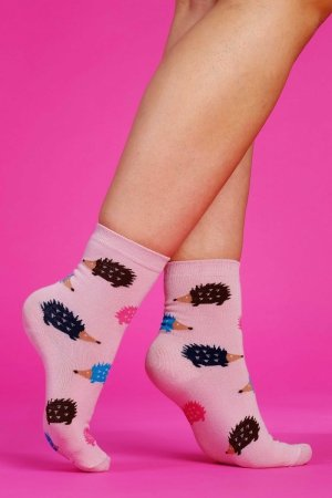 Supa! Sox! Pink Hedgehog ladies socks