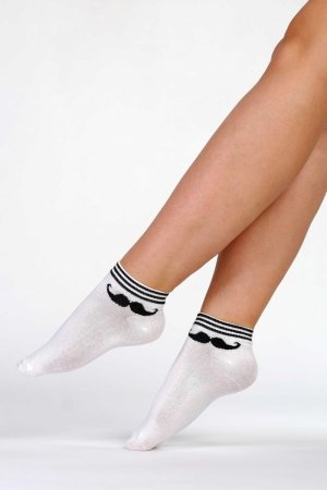 Supa! Sox! Black Mustache ladies socks