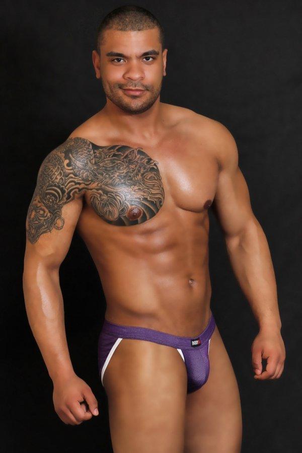 Slipy Tanga BODY GMW Jeans Purple