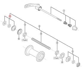 Stożek piasty przód Shimano HB-M430