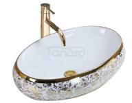 REA - Umywalka nablatowa MERYL White/Gold biało/złota Połysk
