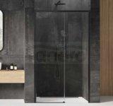 NEW TRENDY - Drzwi wnękowe prysznicowe przesuwne PRIME BLACK 100-160 cm