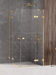 NEW TRENDY Kabina prysznicowa podwójne drzwi uchylne AVEXA GOLD SHINE Linia Platinium 110x110x200 EXK-1866