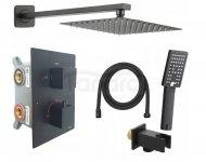 REIHE - System prysznicowy podtynkowy IMEX z termostatem czarny  IM-SYS-BL