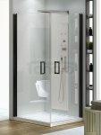New Trendy - Kabina prysznicowa prostokątna NEGRA drzwi podwójne / Linia Platinium