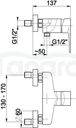 ARMATURA KRAKÓW - HALIT bateria natryskowa 4826-010-00