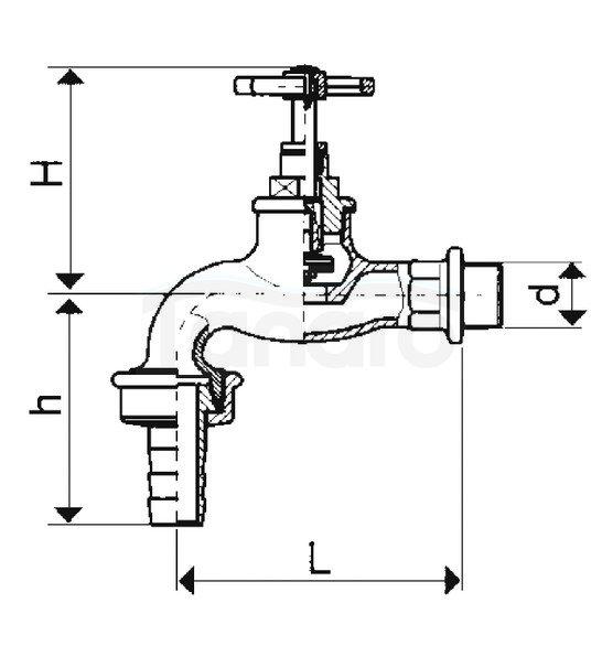 ARMATURA KRAKÓW - Zawór wodny, wypływowy czerpalny 1/2 ze złączką węża 190-012-07
