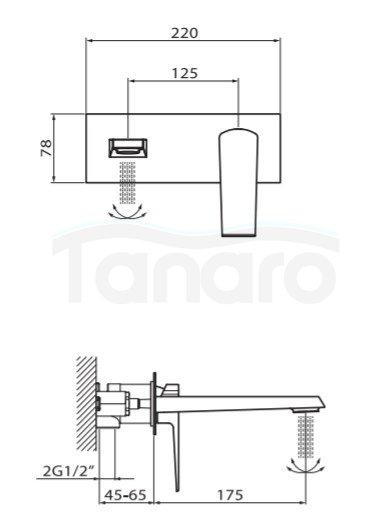 VEDO - bateria SETTE umywalkowa ścienna VBS7012