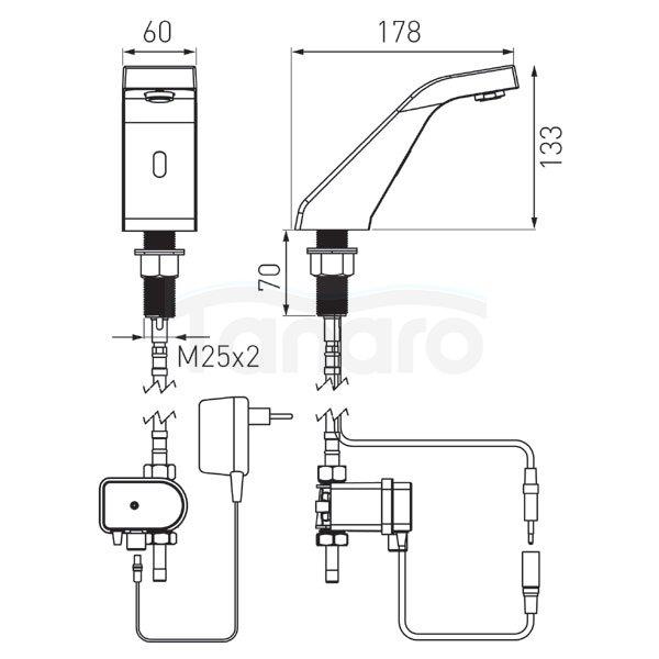 FERRO - Bateria umywalkowa bezdotykowa stojąca Sirocco Sensor Power Safe BBB101S