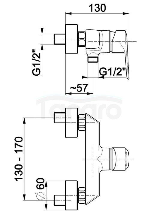 ARMATURA KRAKÓW - Bateria jednouchwytowa natryskowa GERMAN 4516-010-00