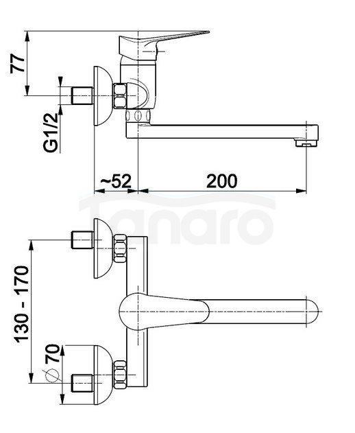 ARMATURA KRAKÓW - Bateria jednouchwytowa, zlewozmywakowa ścienna LEONIT 5310-910-00