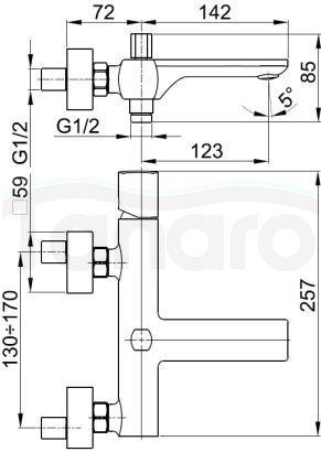 ARMATURA KRAKÓW -MORGANIT bateria wannowa ścienna 4924-010-00