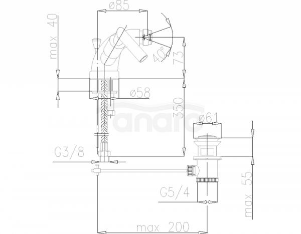 ARMATURA KRAKÓW - Harmonic bateria bidertowa  347-025-00