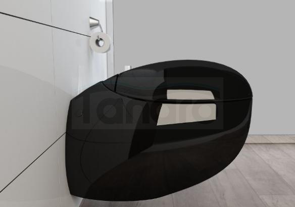 PRC - Miska WC TRAVIS czarna z deską wolnoopadającą WC203