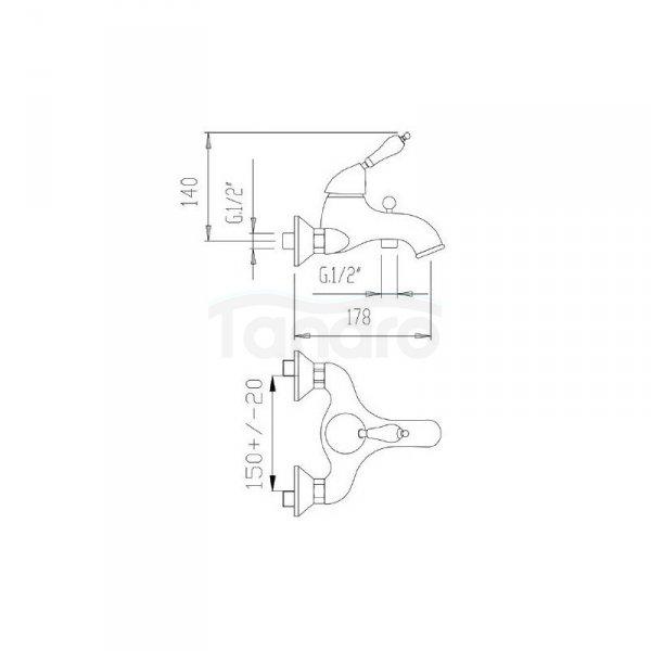 FROMAC - bateria wannowa VARA 3800 brąz