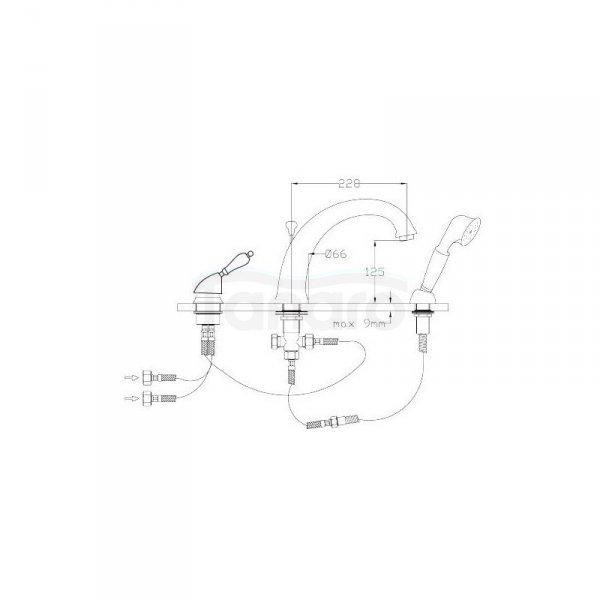FROMAC - bateria wannowa 3-otworowa VARA 3805 chrom