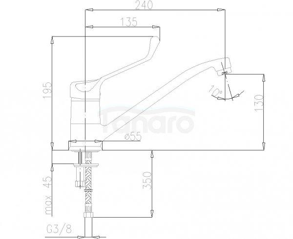 ARMATURA KRAKÓW - Bateria łokciowa jednouchwytowa zlewozmywakowa / kuchenna stojąca 473-985-00