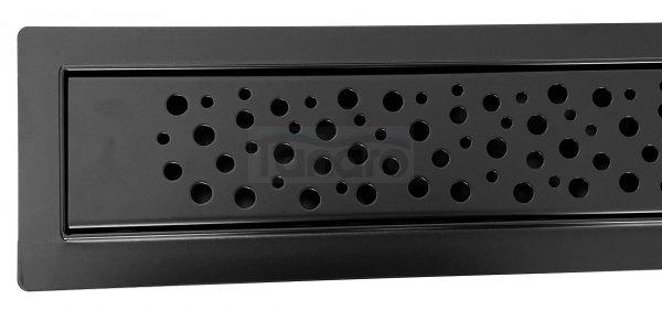 AQUALine - Odpływ liniowy podłogowy BĄBLE BLACK MAT niski z metalowym syfonem  60 CM