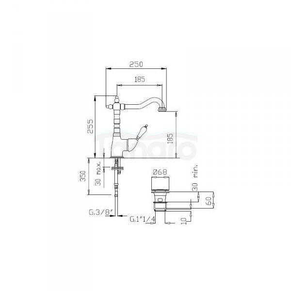 FROMAC - bateria umywalkowa wysoka VARA 3815 chrom