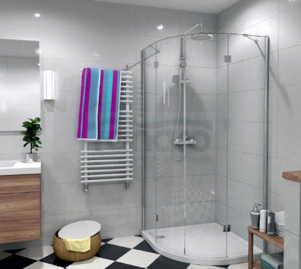 DURASAN - Kabina prysznicowa półokrągła LIVORNO DUO podwójne drzwi uchylne z powłoką NANO GLASS