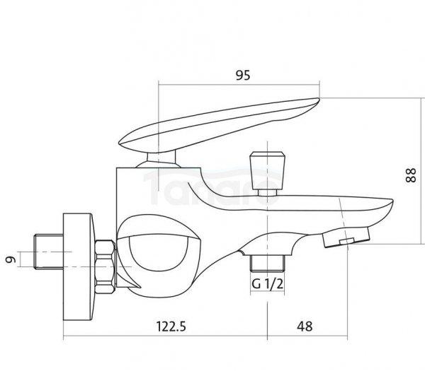 CERSANIT - Bateria wannowo-natryskowa ścienna z przełącznikiem MAYO DESIGN S951-013